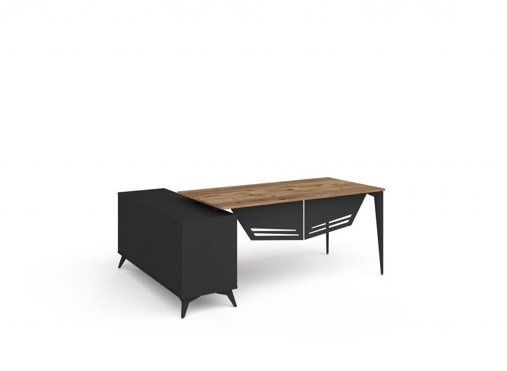 ritim atlantik çam siyah etajerli masa